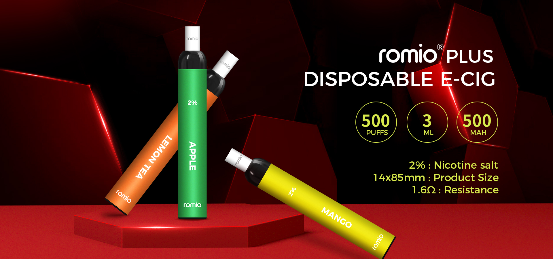 Romio Plus Disposable E-cig with 500mAh Battery 500 more puffs - ESM SMOKE